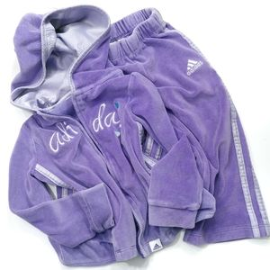 Adidas Purple Track Suit With Hood Size 2T